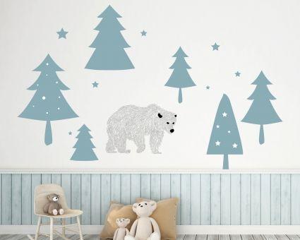 Wandtattoo Eisbär im Wald wie Beispielbild 38 x 26 cm 15