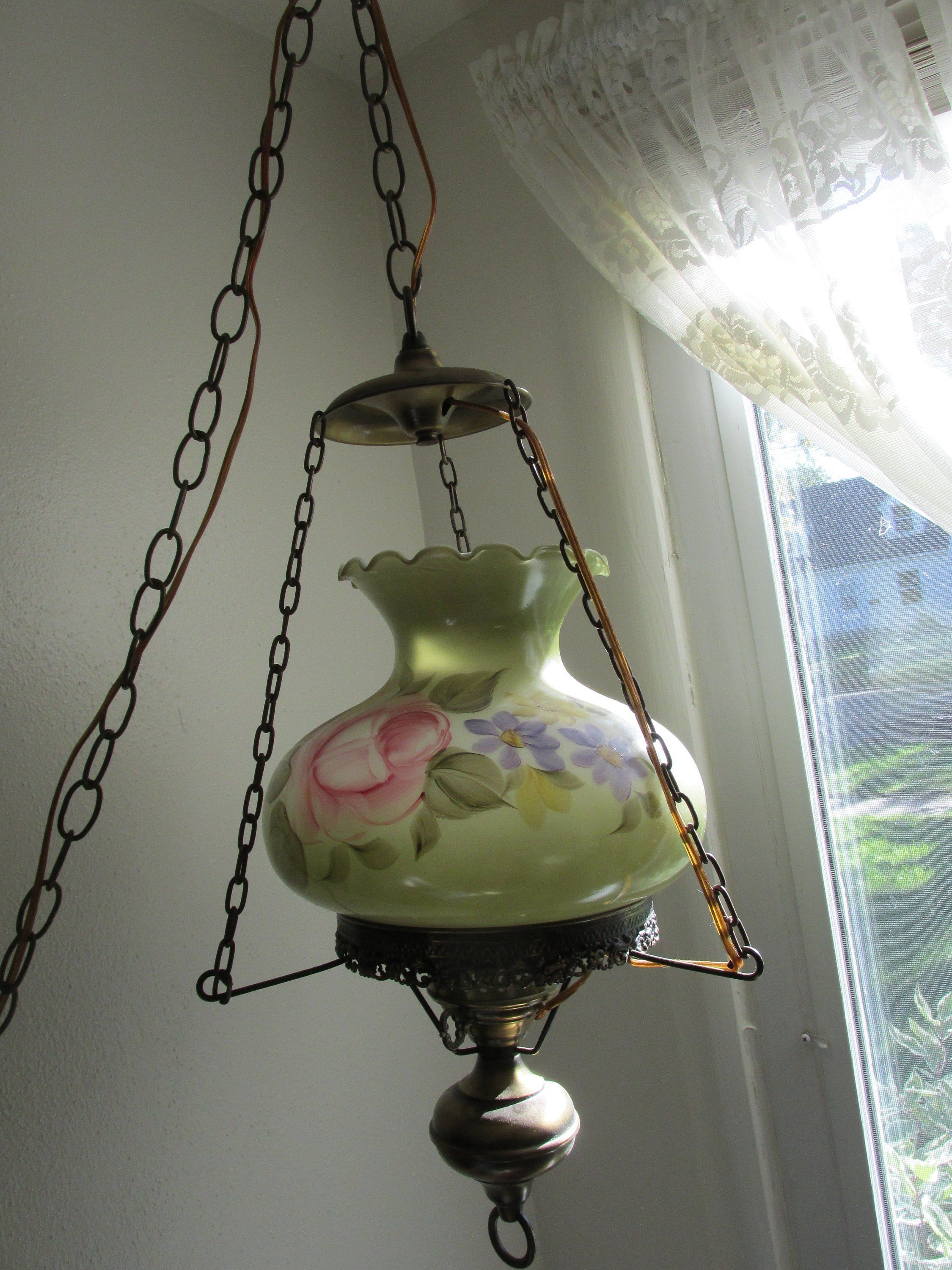 Hanging Swag Lamp Green Floral Vintage Pendant Chain Cord