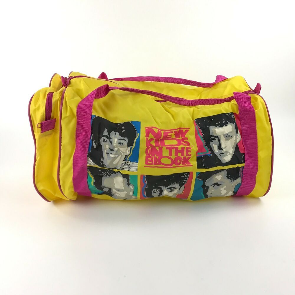 1990 New Kids on the Block Gym Duffel Bag Yellow Pink Graphic NKOTB Vintage 82fae5322ece9