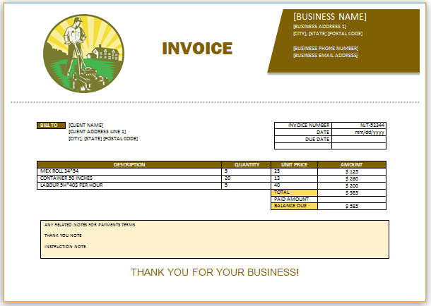 Landscaping Invoice Template   Landscaping Invoice Templates