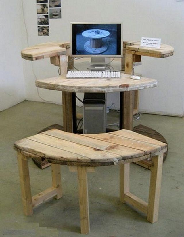 Computer Desk from Cable Reel