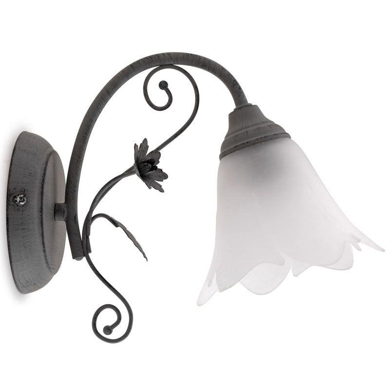 applique murale rustique avec belle opaline en forme de tulipe et verre blanc paddy luminaire d. Black Bedroom Furniture Sets. Home Design Ideas
