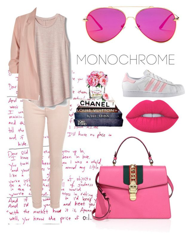 """Colour me pink #3"" by bevlash on Polyvore featuring Gucci, Gap, adidas, River Island and AQS by Aquaswiss"