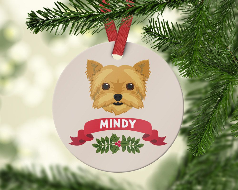 Yorkshire Terrier Ornament Yorkshire Terrier Gift Personalized Christmas Ornament Custom Dog Ornament Family Dog Gift Pet Lover Custom Christmas Ornaments Personalized Christmas Ornaments Christmas Ornaments
