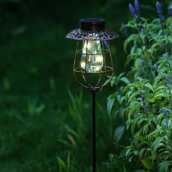 Solar Light Lantern Garden Stake, Black(Glass), Outdoor