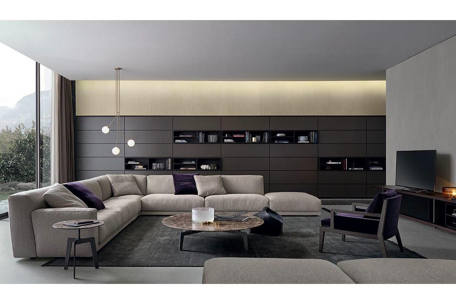 Wall system bookcase by cr s poliform for poliform for Casa clasica moderna interiores
