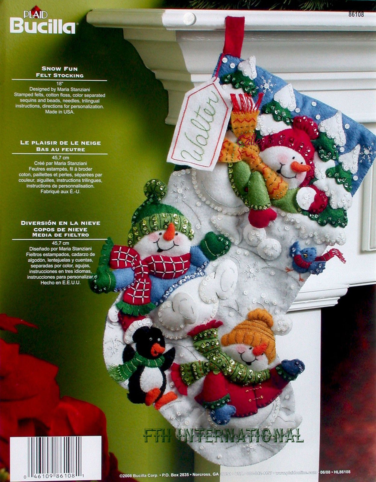 Bucilla Snow Fun 18 Felt Christmas Stocking Kit 86108 Snowmen Penguin New Christmas Stocking Kits Felt Christmas Felt Christmas Stockings