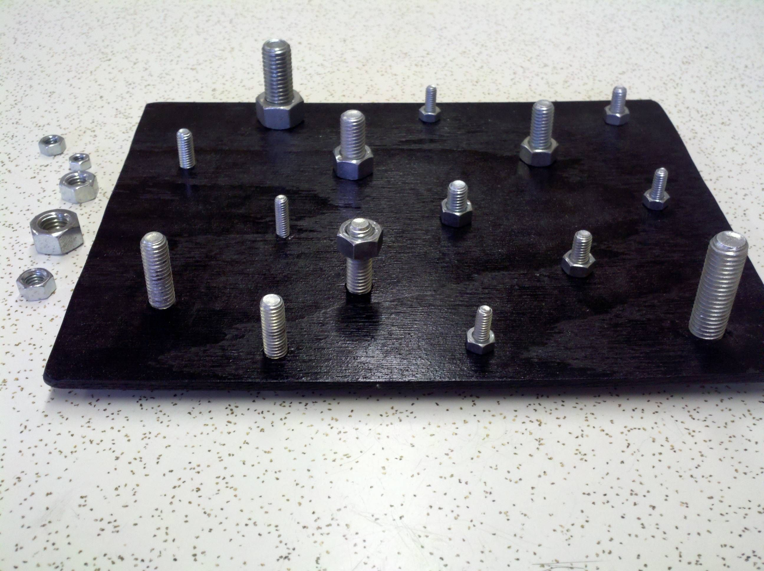 Fine Motor Occupational Therapy Activity Made With Painted Plywood Nuts Amp Bolts Cost Approx