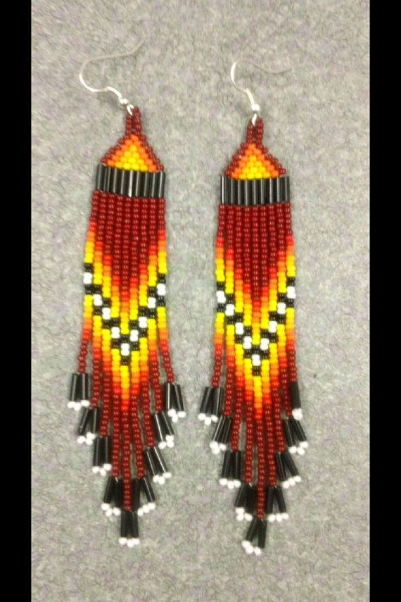 Native American Dark Red Beaded Earrings