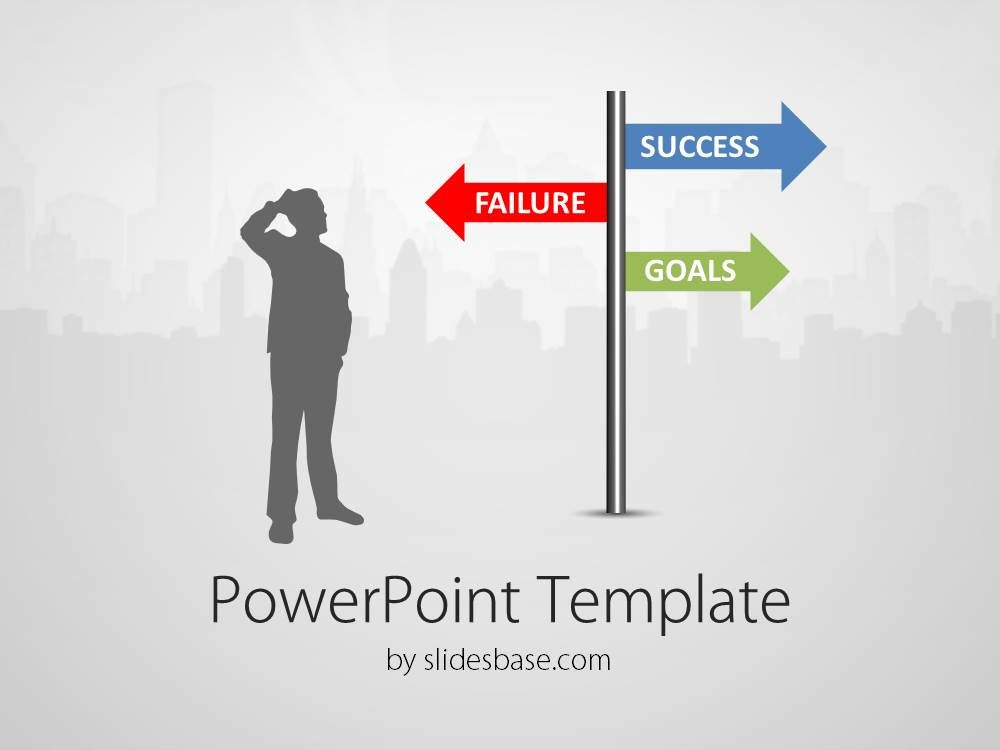 Success directions street sign businessman choose side questions powerpoint template with a man silhouette watching a customizable street sign and deciding where to go or what to achieve toneelgroepblik Image collections