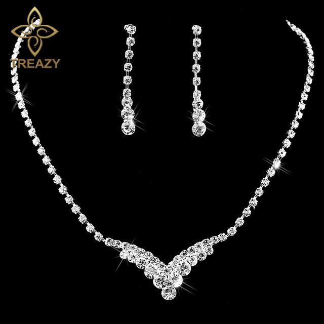TREAZY New Fashion Celebrity Style Tassel Drop Crystal Necklace Earrings Set  for Women Bridal Bridesmaid Wedding Jewelry Sets 45606dea620c