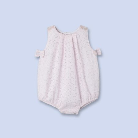Embroidered bow trim bloomers for baby, girl