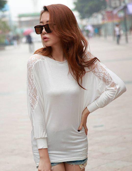 $6.26 Stylish Hot Sell Long sleeve Lace Splicing T-shirt