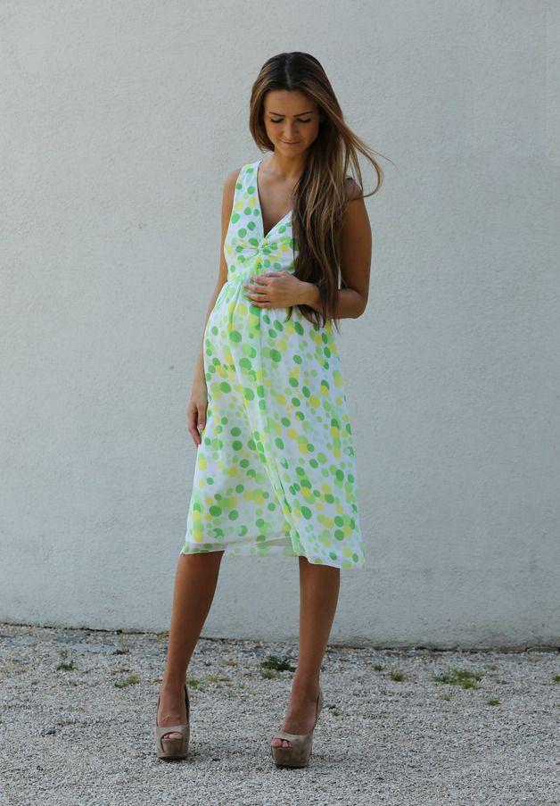 Umstandskleid Chiffon gpu weiß-grün von DaWanda | pregnant & pretty ...