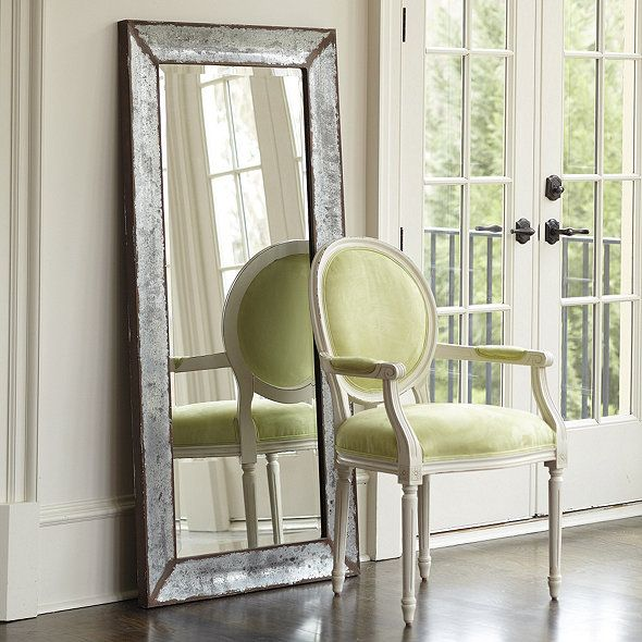The rustic weathered finish of our Zinc Framed Mirror ...