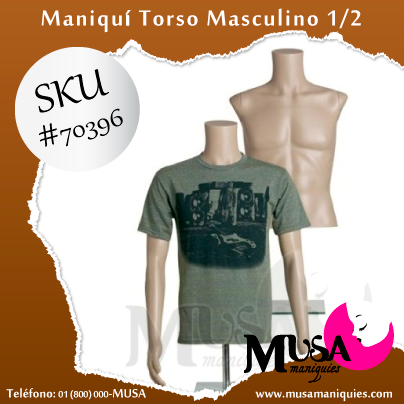 #maniquí de torso masculino ideal para exhibir playeras y camisas de hombre, fácil de vestir y montar http://goo.gl/18tvQy