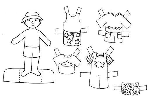 Recortables De Niños Niñas Y Animales Para Colorear Manualidades De Verano Para Niños Imagenes De Ropa Colores