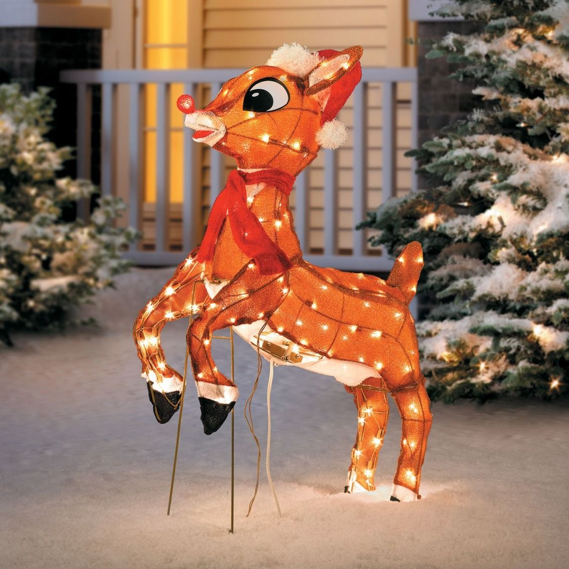 Rudolph Appears To Be Taking Off Into Flight In This Christmas Decoration Maybe He Outdoor Christmas Reindeer Outdoor Christmas Christmas Reindeer Decorations