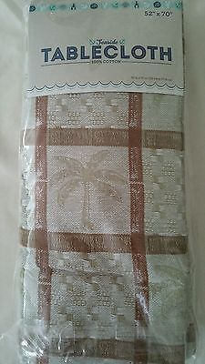 New Tropical Palm Tree Tablecloth, 52 X 70 Jacquard Cotton Tan Green