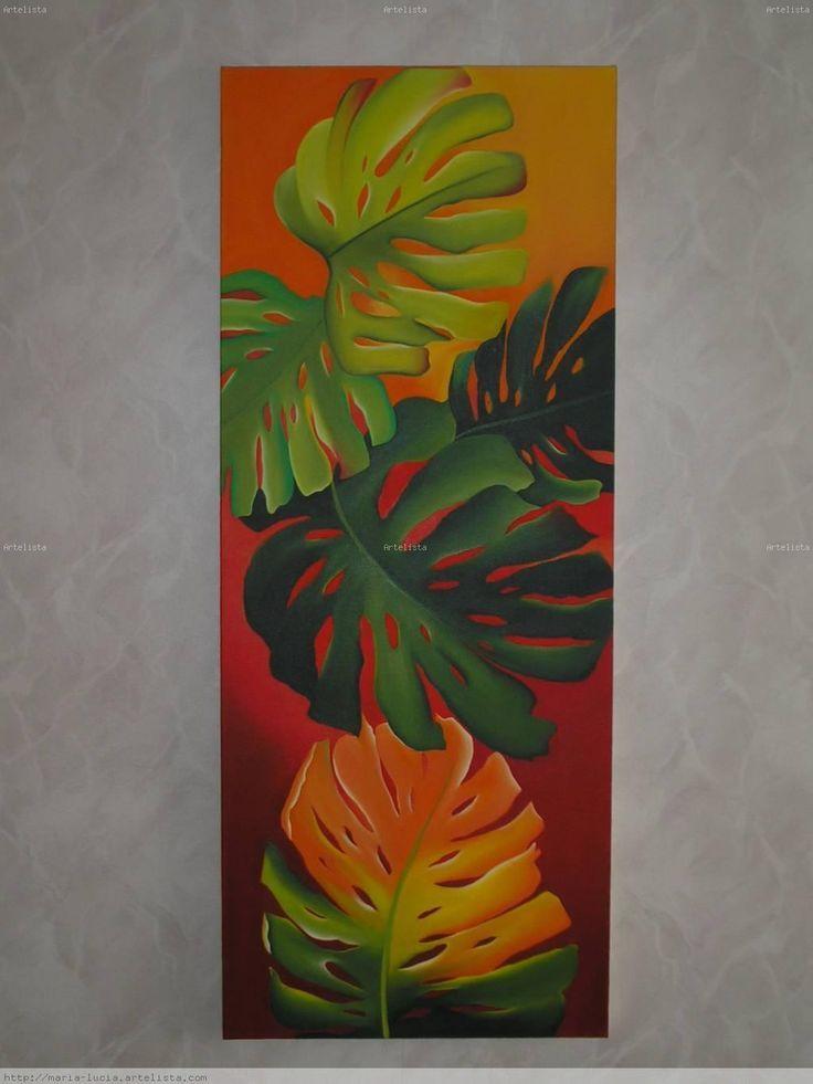 Resultado de imagen para cuadros modernos con hojas | pintura ...
