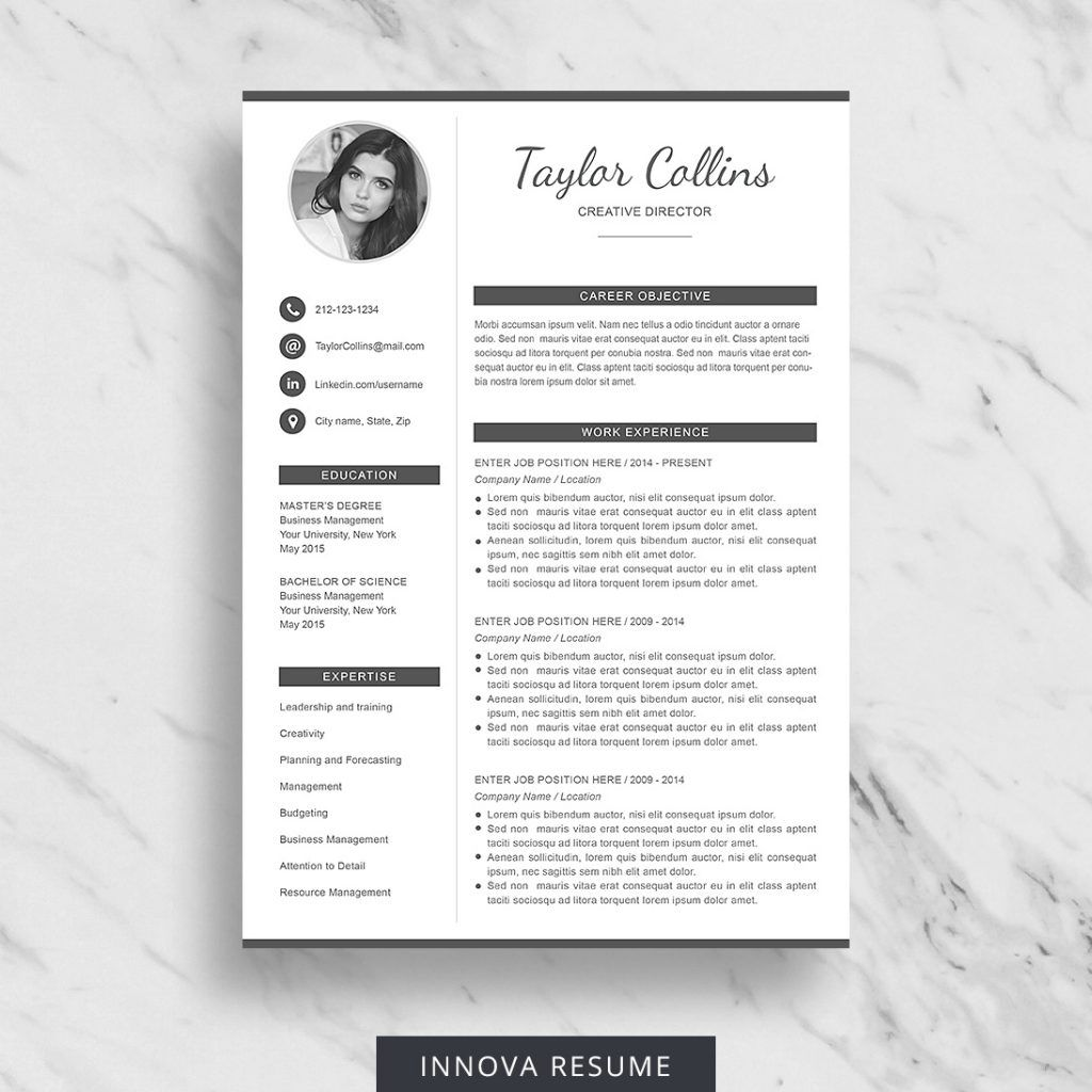 Premium Resume Templates for Microsoft Word Innova