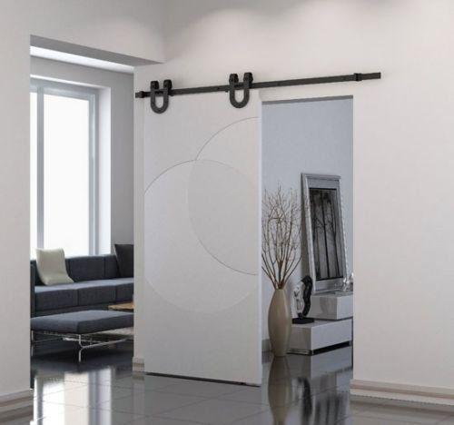 """ccjh 2,1m 84""""Modern scorrevole porta armadio hardware Track Kit Sistema a binario per singola porta di legno"""