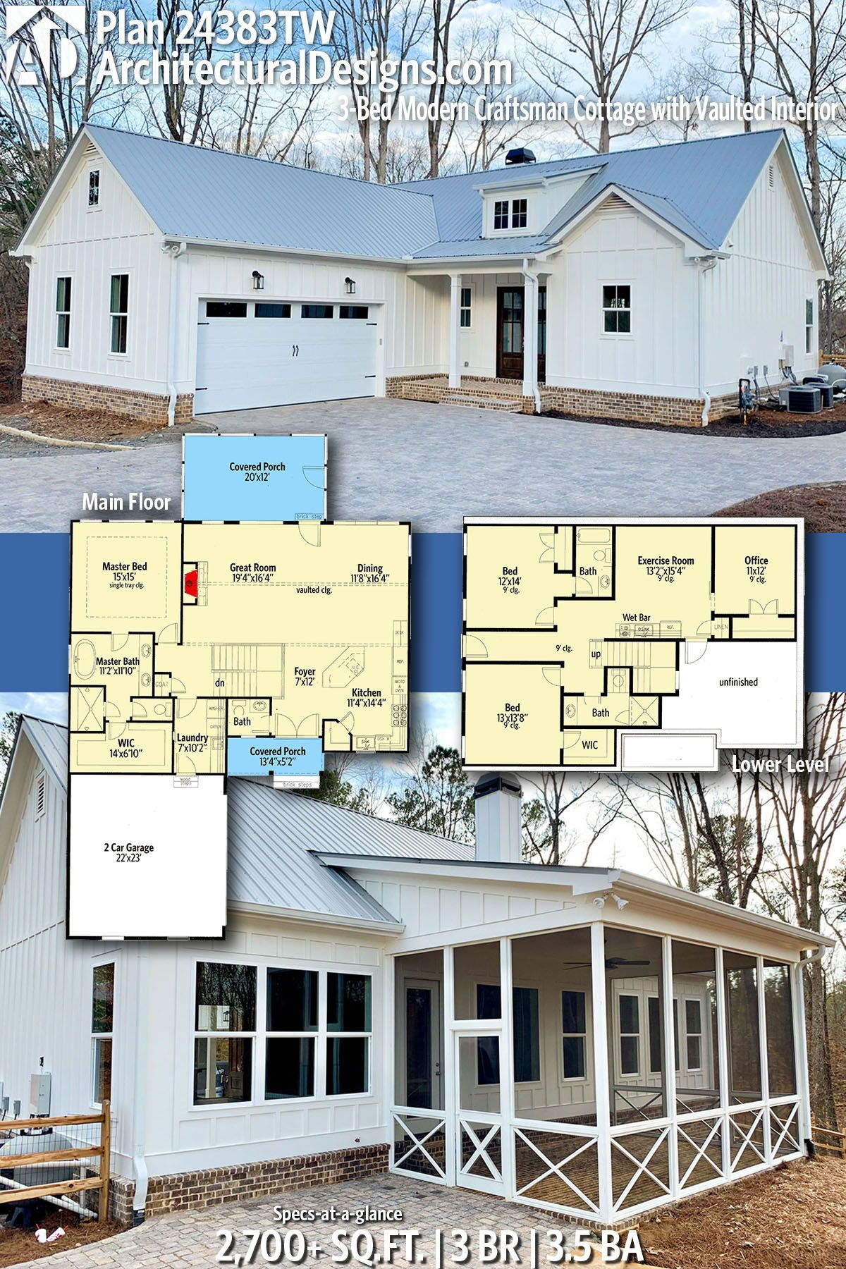 Architectural designs modern craftsman plan tw bedrooms baths square also bed cottage with vaulted interior rh pinterest