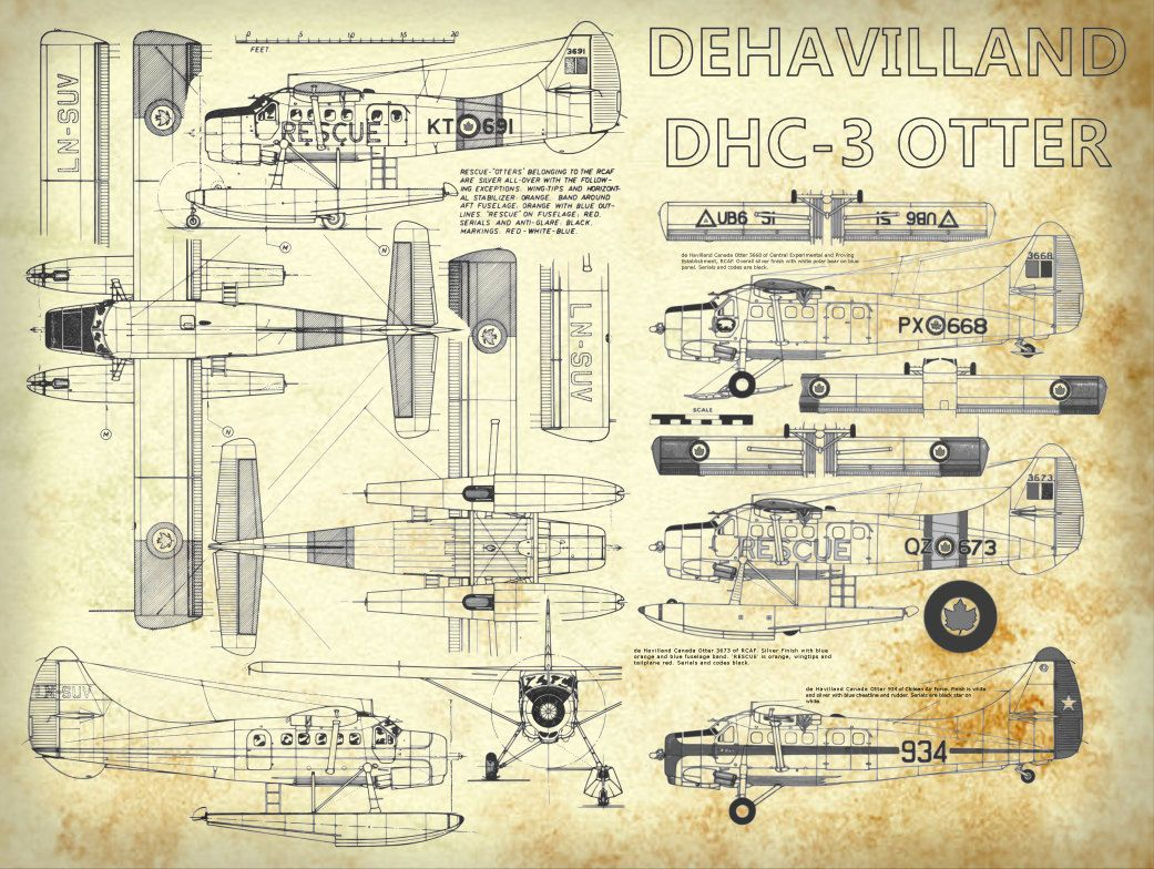 De Havilland Dhc 3 Otter Plane Blueprint Art Of Ot Bigbluecanoe