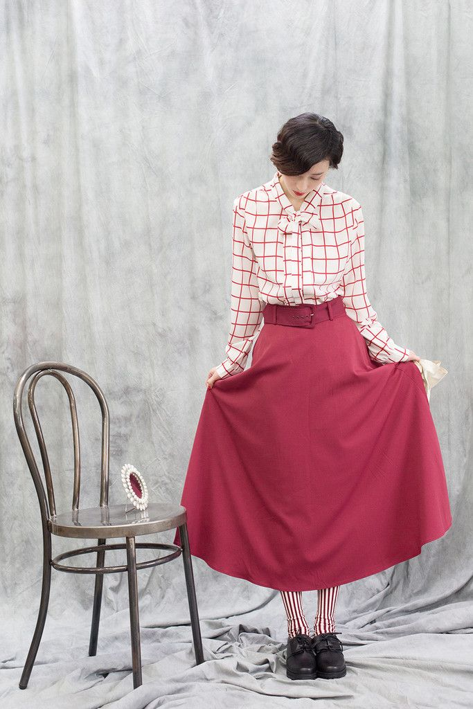 Belted Flare Skirt Red