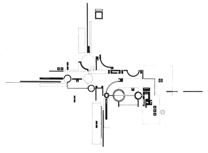 Aldo Rossi, Plan of a Foundry, Ercolano, Italy, 1964 (via archiveofaffinities) Compare with Mies' Plan for a Brick Country House from 1925.