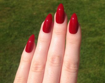 Red Stiletto Nails Nail Designs Art Acrylic Pointy Fake