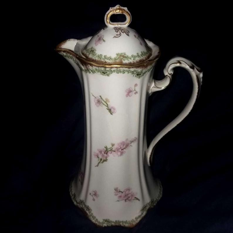 Tall Antique Syracuse China Iroquois Porcelain Chocolate