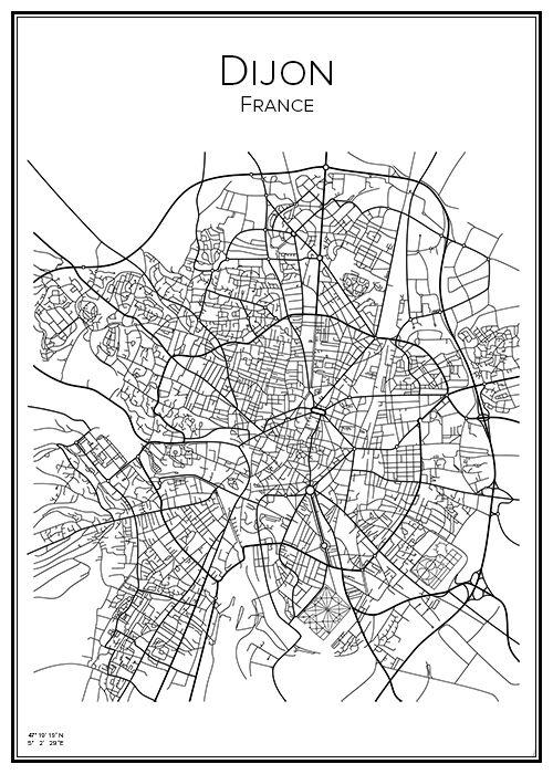Dijon France Frankrike Map City Print Print Affisch Tavla Tryck Stadskarta Karta