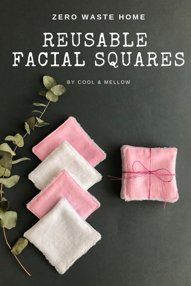 Set of 5 white and pink zero waste makeup wipes. 100