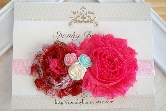 Hot Pink Shabby Chic Headband  Baby Pink Shabby by SpunkyBunny, $8.50