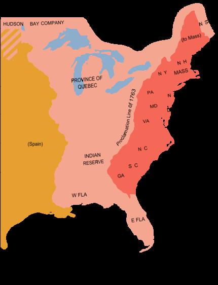 Eastern North America in 1775. Modern state boundaries are ...
