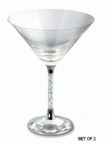 Swarovski Crystalline Tail Martini Gles Set Of 2 Crystal Figurines