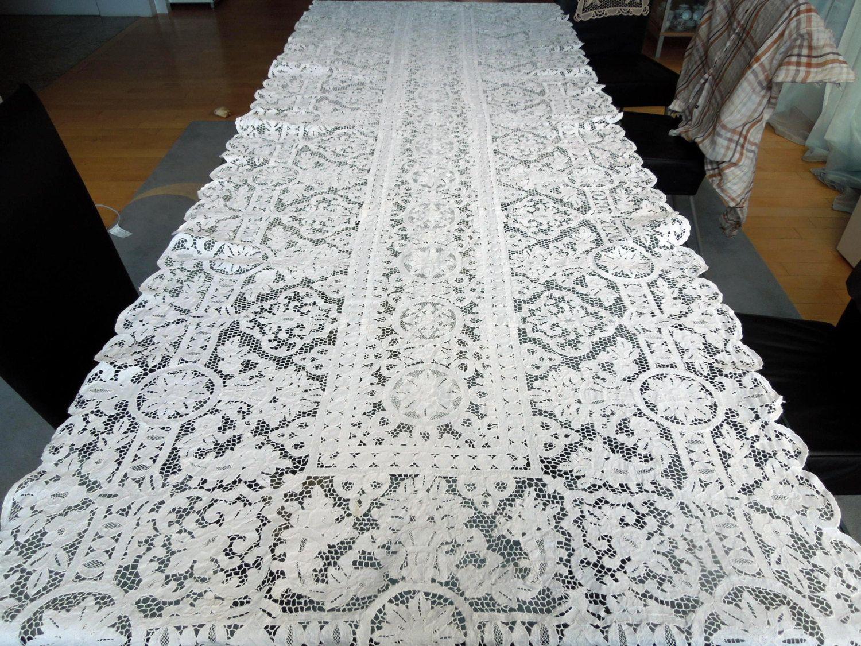 Handmade Vintage Italian Point de Venise Needle Lace Tablecloth Pure ...