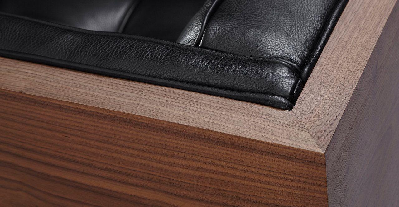 Woodrow Box 87 Leather Sofa Walnut Black Aniline Leather Sofa Woodrow Leather Supplies