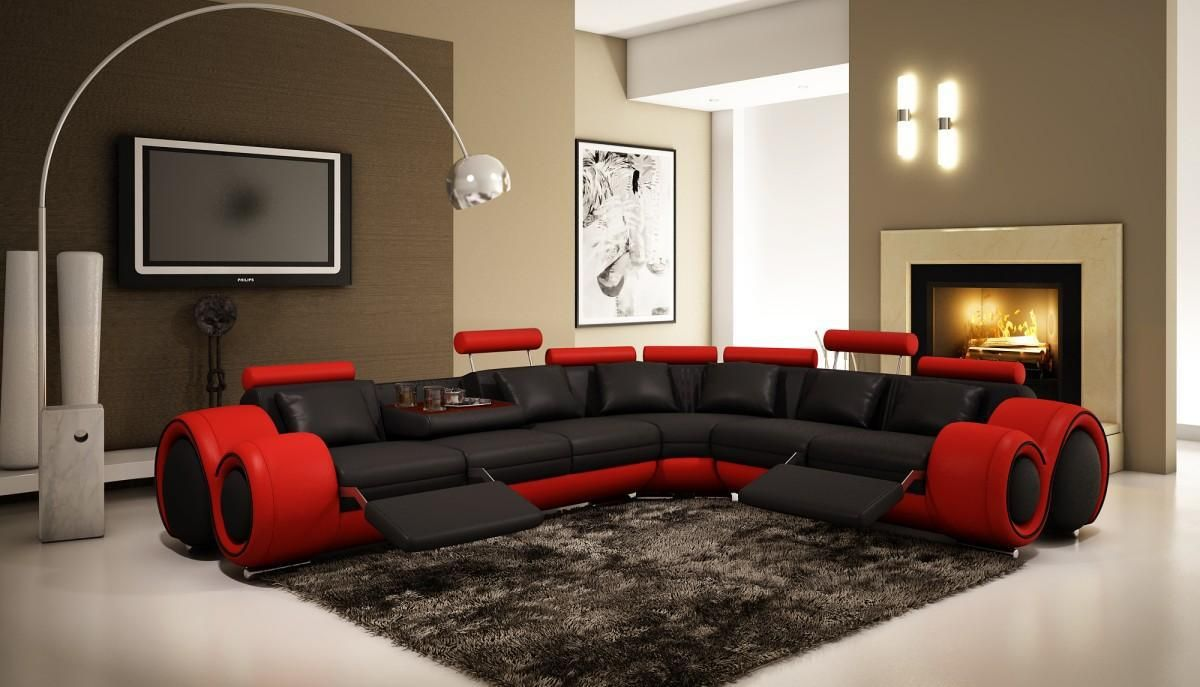 Red Living Room Furniture Divani Casa 4087 Modern Leather Sectional Sofa Black Red