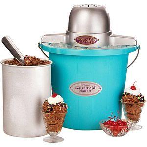 Nostalgia Electrics 4 Quart Blue Bucket Electric Ice Cream Maker Icmp400blue Walmart Com Homemade Chocolate Ice Cream Ice Cream Maker Electric Ice Cream Maker
