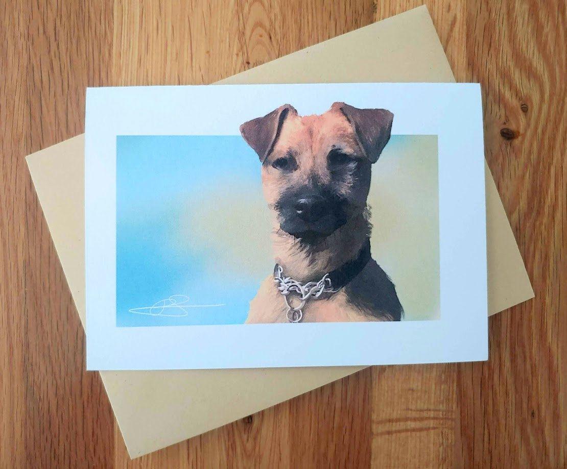 Border Terrier Cross Greeting Card Notelet By Jarrt Dog Etsy Dog Birthday Card Dog Greeting Cards Border Terrier