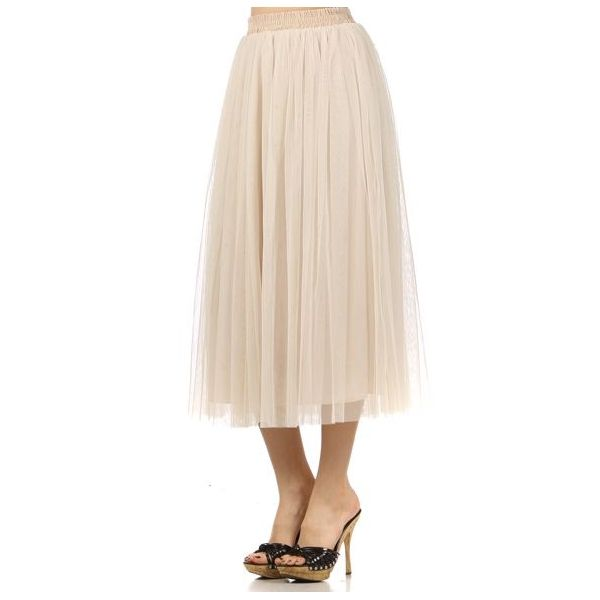 cream tulle skirt with silver lining   Tulle Midi Skirt