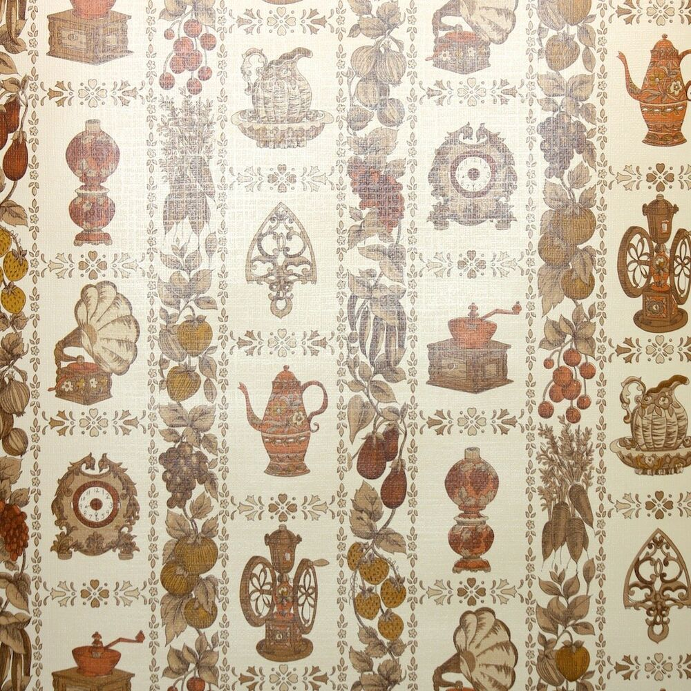 Details about 1970s Kitchen Vintage Wallpaper Brown Cream