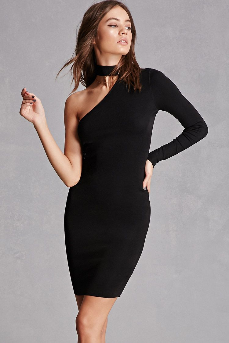 A micro-ribbed mini dress featuring a one-shoulder design, one long ...
