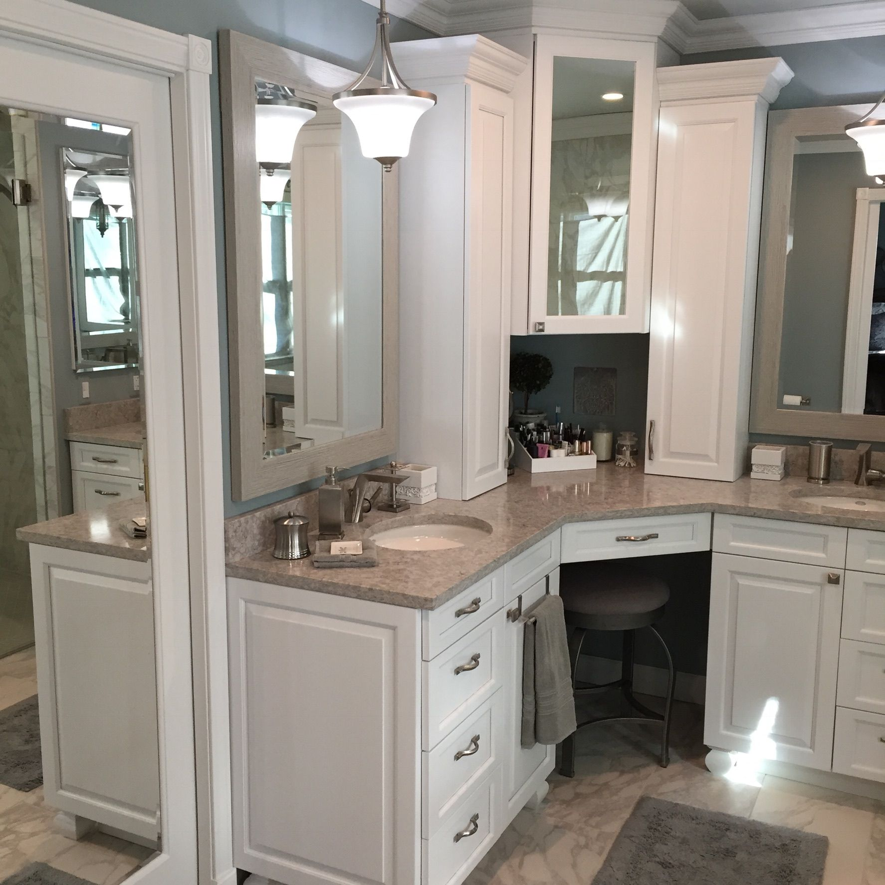 We Went With A His Her Corner Vanity And Love It Corner Bathroom Vanity Master Bathroom Vanity Bathroom Interior Design