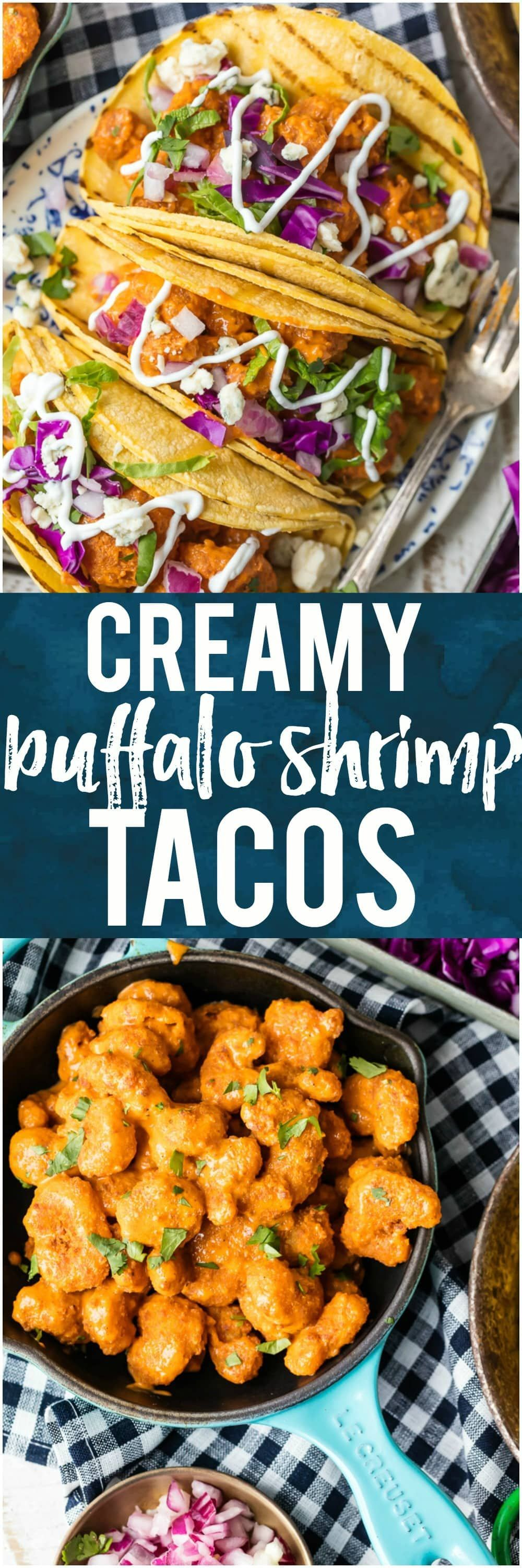 Creamy Buffalo Shrimp Tacos #buffaloshrimp This BUFFALO SHRIMP TACOS RECIPE is tossed in a finger lickin good creamy buffalo sauce and easier than you can even imagine. Perfect for Cinco De Mayo, family night in, or game night with friends! Nothing is better than spicy crispy popcorn shrimp topped with all the fixings and wrapped in a corn tortilla. I'm obsessed. #shrimp #seafood #buffalo #spicy #popcornshrimp #tacos #mexican #cincodemayo #gameday via @beckygallhardin #buffaloshrimp