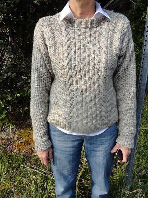 Aran Pullover Sweater pattern on Ravelry. In a light gray brown and ...