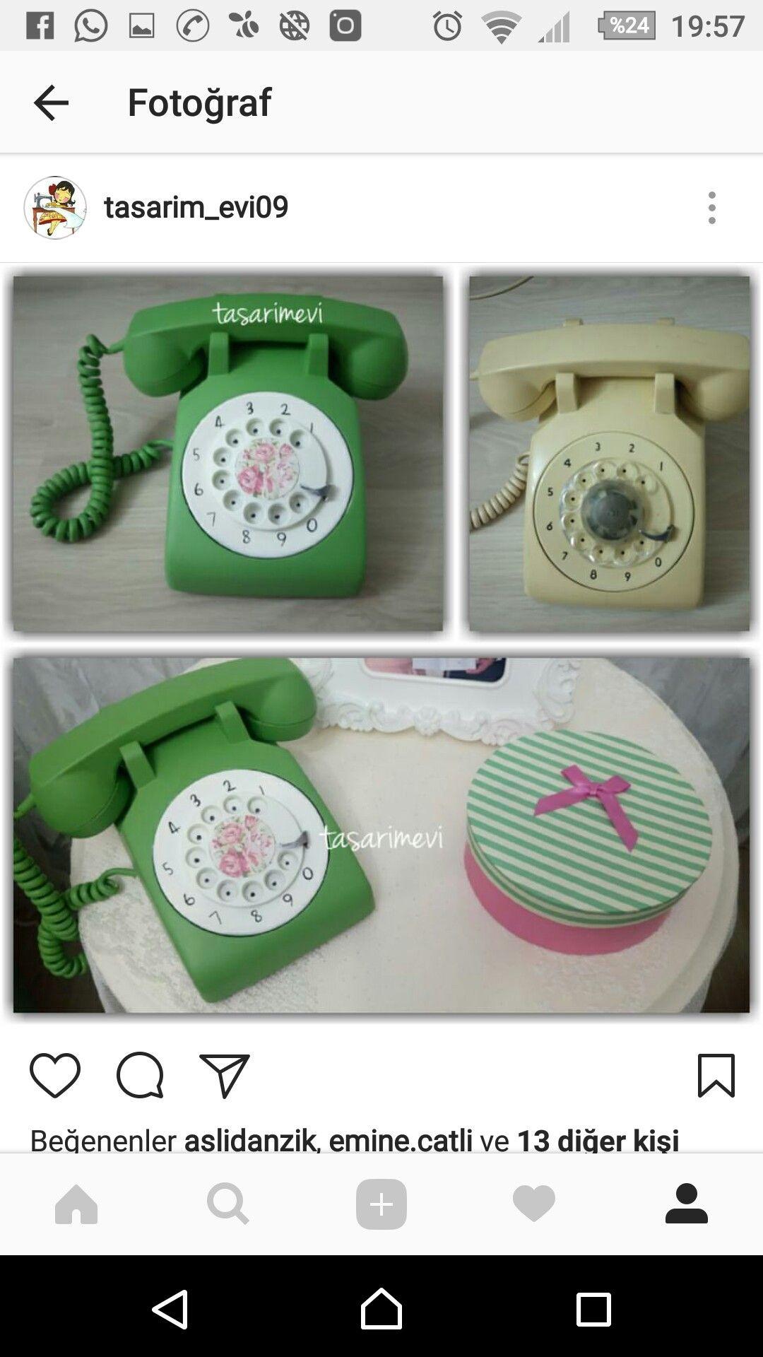 Antika Eski Telefon Boyama Vintage Telefonlar Fikirler Antika