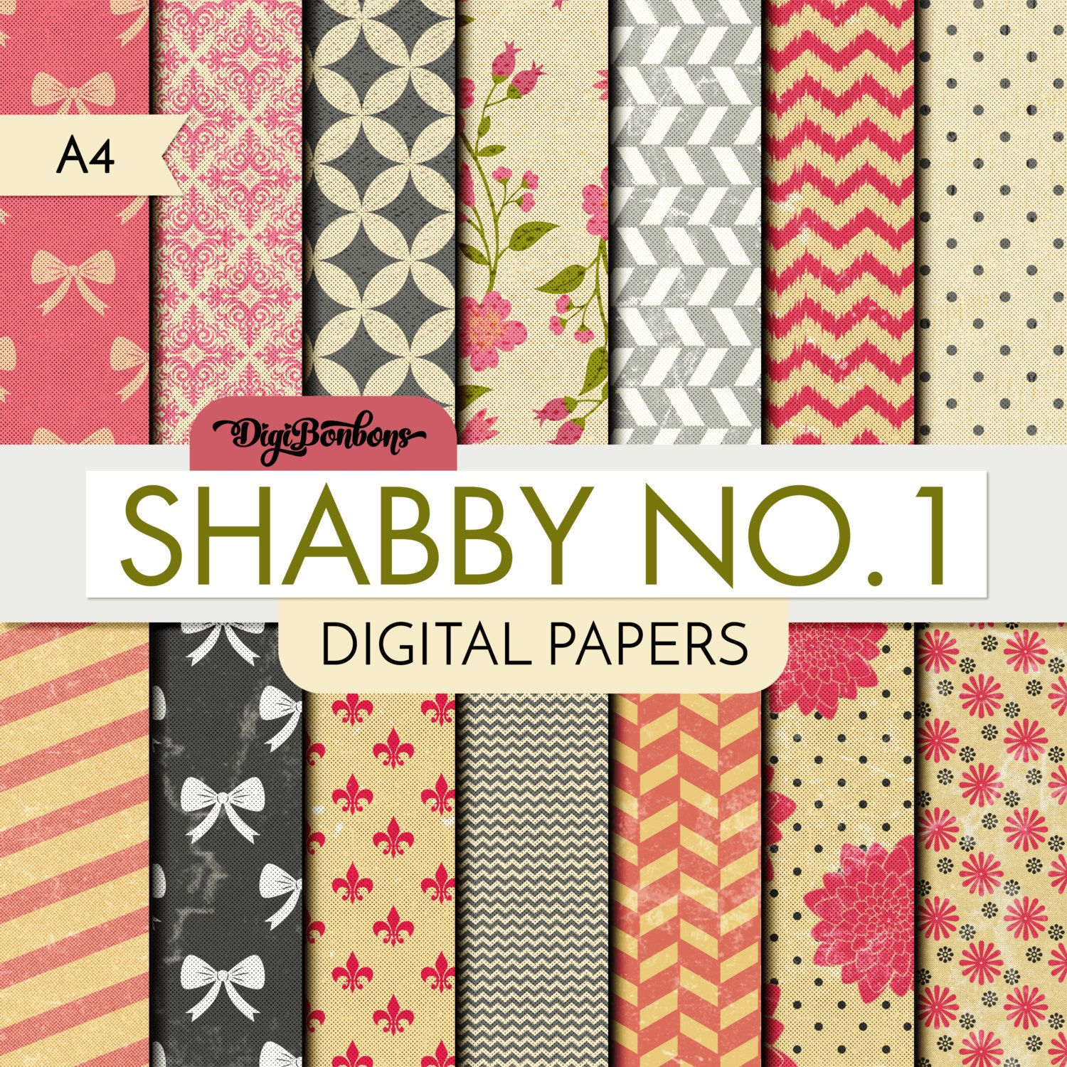 Shabby Chic Scrapbook Digital Paper - A4 size - Textured Rose Cream Gray Digital Papers - Shabby No. 1 scrapbook digital digital paper digital scrapbook digital papers digital patterns instant download shabby chic shabby florals shabby digital shabby papers textured digital textured paper a4 paper DigiBonBons 2.99 USD